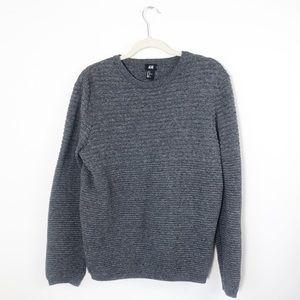 H&M | Dark Gray Heathered Textured Sweater | M